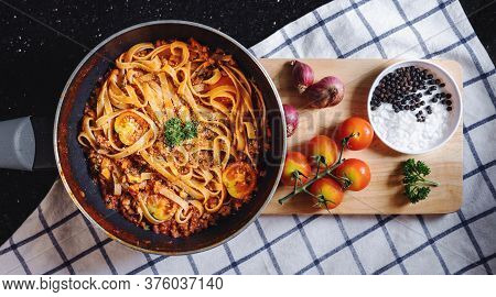 Pasta Bolognese Tomatoes Sauce With Fresh Ingredient On Wooden Tray