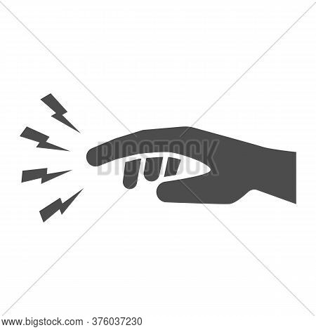 Finger Pain Solid Icon, Body Pain Concept, Injured Finger Sign On White Background, Acute Finger Pai
