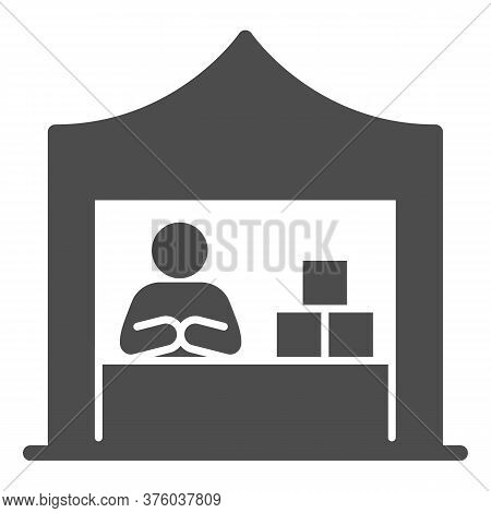 Kiosk With Seller And Goods Solid Icon, Commerce Concept, Marketplace Tent With Seller Sign On White
