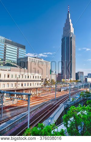 Travel Destinations. Japanese Travel Destinations. Railways Central Station With Clock Tower In Japa
