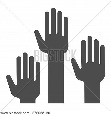 Hands Raised Up Solid Icon, Education Concept, Raising Up Hands In Air Sign On White Background, Rai