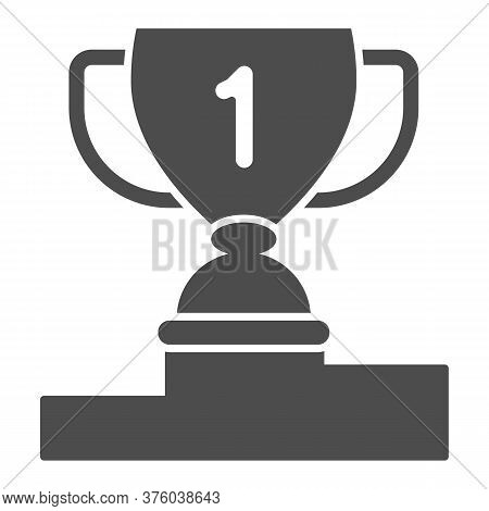 Winner Cup On Pedestal Solid Icon, Sport Concept, First Place Trophy Cup Sign On White Background, A
