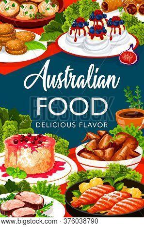 Australian Cuisine Food Menu, Buffet Meal Dishes, Traditional Australia Restaurant, Vector. Australi