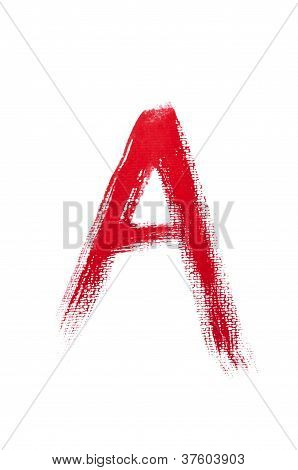 Handwritten Red Watercolor Alphabet.