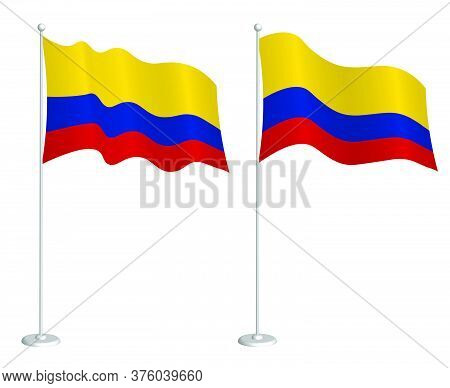 Flag Of Colombia On Flagpole Waving In The Wind. Holiday Design Element. Checkpoint For Map Symbols.