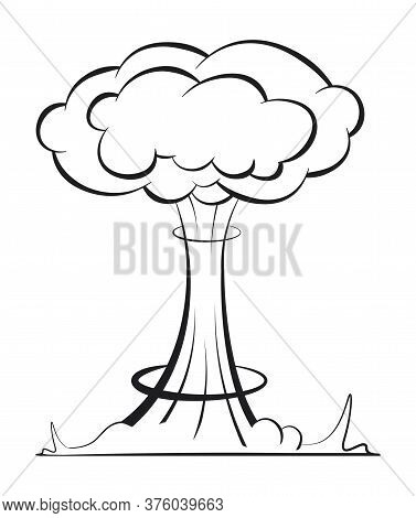 Nuclear Explosion In A Linear Style. Danger Of Using Weapons Of Mass Destruction. International Day