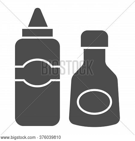 Sauce And Mustard Solid Icon, Picnic Concept, Sauce Bottles Sign On White Background, Bottles Of Ket