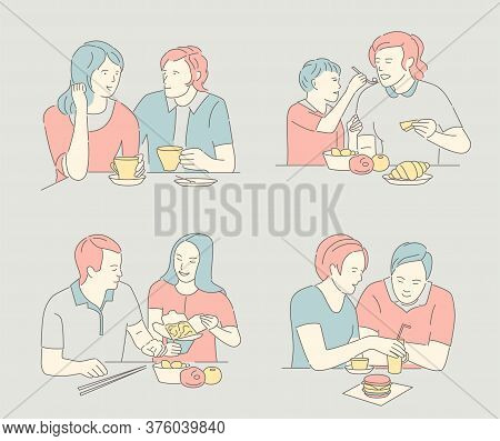People Sitting At The Table And Eats Various Dishes. Set Of People At Restaurant Or Cafe. Humans Eat
