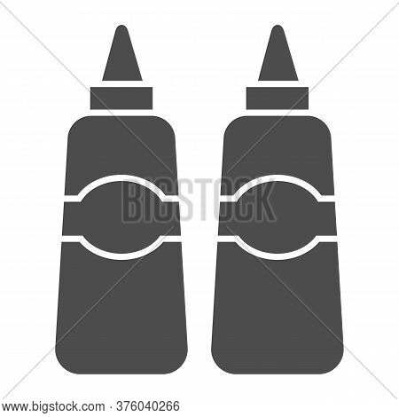 Sauce And Mustard Solid Icon, Street Food Concept, Sauce Bottles Sign On White Background, Bottles O