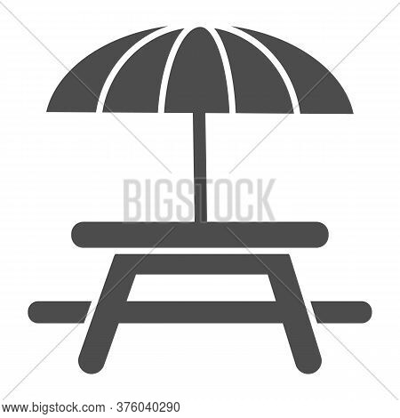 Outdoor Table With Umbrella Solid Icon, Picnic Concept, Camping Table Sign On White Background, Tabl