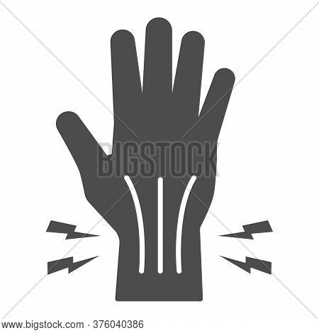 Pain In Hand Solid Icon, Body Pain Concept, Injury In Hand Joint Sign On White Background, Human Han