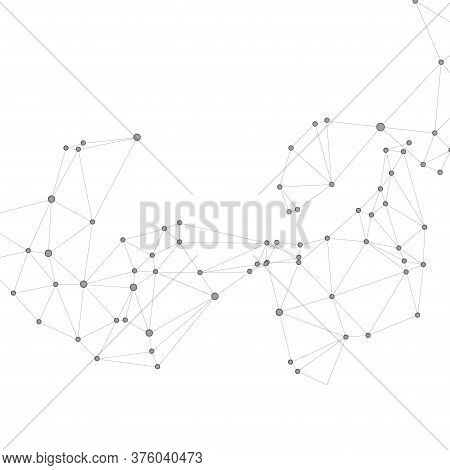 Geometric Plexus Structure Cybernetic Concept. Network Nodes Greyscale Plexus Background. Wireframe
