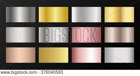 Silver, Platinum, Bronze, Pink Gold Vector Metallic Gradients. Badges Set. Shiny Chrome, Alloy, Alum