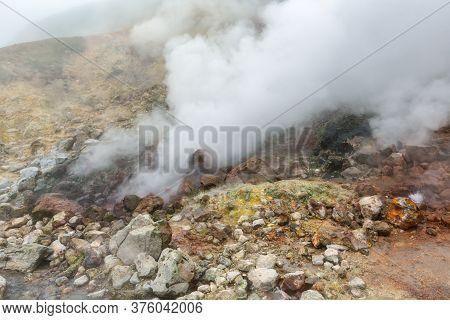 Breathtaking View Of Volcanic Landscape, Aggressive Hot Spring, Eruption Fumarole, Gas-steam Activit
