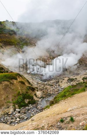 Exciting View Of Volcanic Landscape, Eruption Fumarole, Aggressive Hot Spring, Gas-steam Activity In