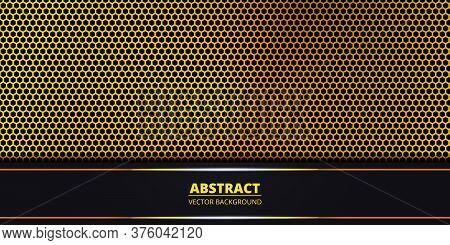 Abstract Background With Gold Hexagon Carbon Fiber. Abstract Backdrop With Dark And Light Luminous L