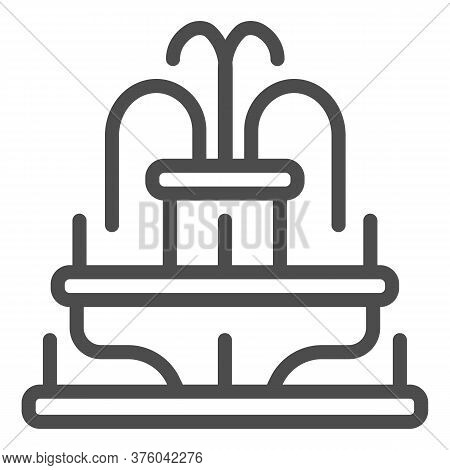 Fountain Line Icon, Amusement Park Concept, Park Fountain Sign On White Background, Water Fountain I