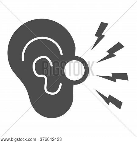 Ear Pain Solid Icon, Illness And Injury Concept, Earache Sign On White Background, Ear Inflammation