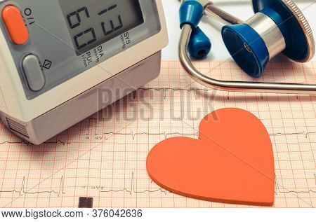 Medical Stethoscope, Heart Shape And Equipment For Measuring Blood Pressure On Electrocardiogram Gra