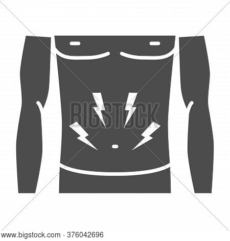 Stomach-ache Solid Icon, Healthcare Concept, Person With Symptom Of Pain In Stomach Sign On White Ba