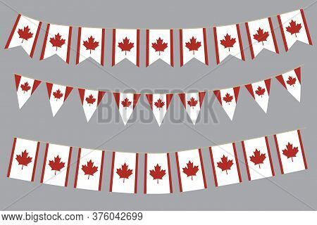 Canadian Flag. Vector Background Of Garlands Of The Symbol Of Canada. Festive Illustration For A Car