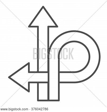 Arrows Straight And Turn Back Thin Line Icon, Traffic Concept, U-turn Sign On White Background, Go S