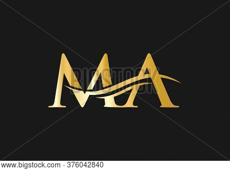 Water Wave Ma Logo Vector. Ma Letter Modern Business Logo. Abstract Letter Ma Logo Design.