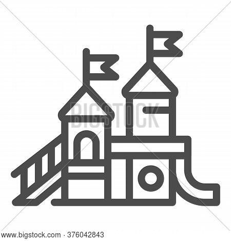 Playground Line Icon, Amusement Park Concept, Kid Castle Sign On White Background, Playground For Ch