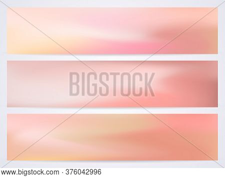 Modern Pastel Vector Template. Set Of Fluid Modern Templates With Iridescent Shades Of Pink, Yellow,