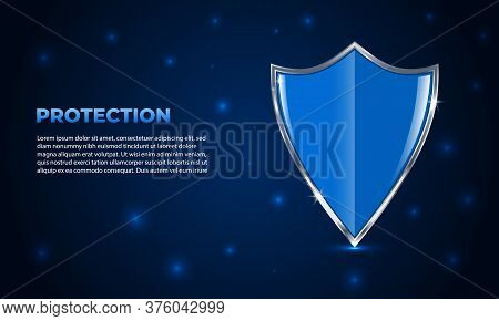 Shield Protection. Glowing Futuristic Security Shield On Dark Blue Background With Highlights. Guard
