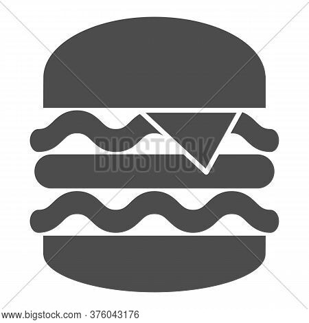 Big Burger Solid Icon, Street Food Concept, King Burger Sign On White Background, Big And Tasty Hamb