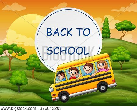 Back To School Template With Children On School Bus