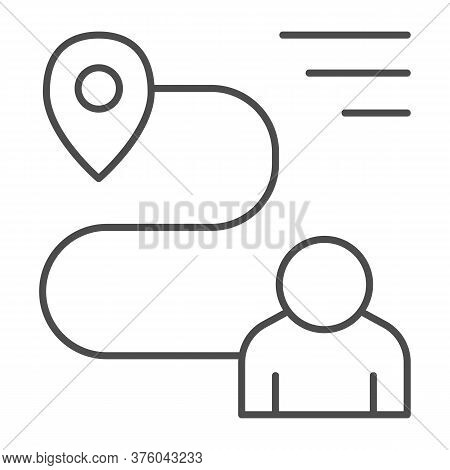Person With Distance And Location Marker Thin Line Icon, Navigation Concept, Travel Route With Marke