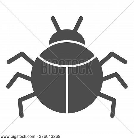Beetle Solid Icon, Insects Concept, Bug Sign On White Background, Round Shaped Beetle Silhouette Ico