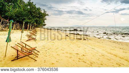 Empty beach near a fishing village on Ko Yao Yai island in the Andaman Sea in Thailand