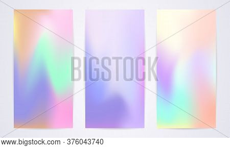 Set Of Fluid Modern Templates With Iridescent Shades Of Different Pastel Colors. Modern Pastel Vecto
