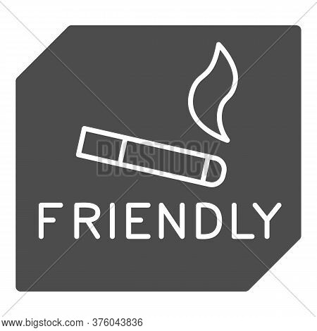 Smoking Is Allowed Solid Icon, Smoking Concept, Smoking Area Sign On White Background, Place For Smo