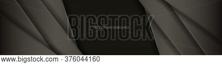 Dark Brown Wide Banner With Abstract Lines And Shadows. Modern Dark Wide Background. Futuristic Abst