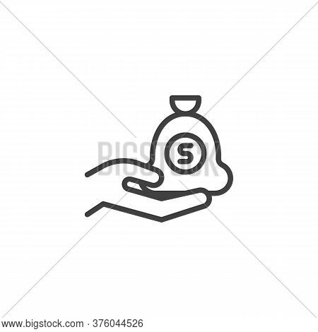 Hand And Money Bag Line Icon. Salary Earning Linear Style Sign For Mobile Concept And Web Design. Mo