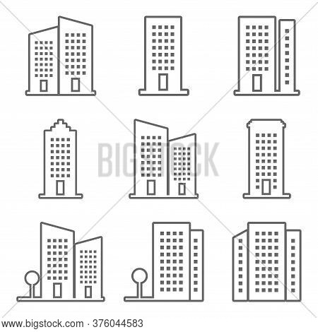 Set Of Buildings Outline Icon Isolated On White Background. Buildings Icon Collection Trendy And Mod