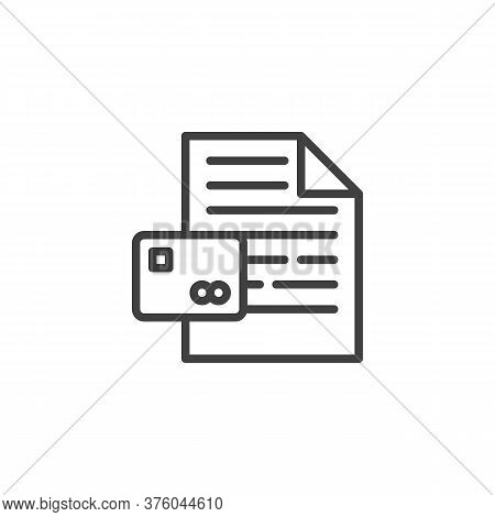 Credit Card Document Line Icon. Linear Style Sign For Mobile Concept And Web Design. Credit Report D