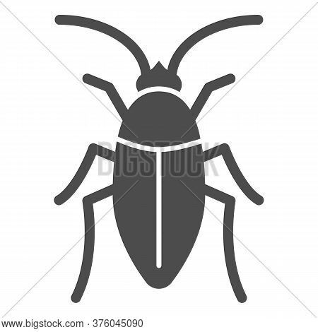 Cockroach Solid Icon, Pests Concept, Beetle Sign On White Background, Roach Icon In Glyph Style For