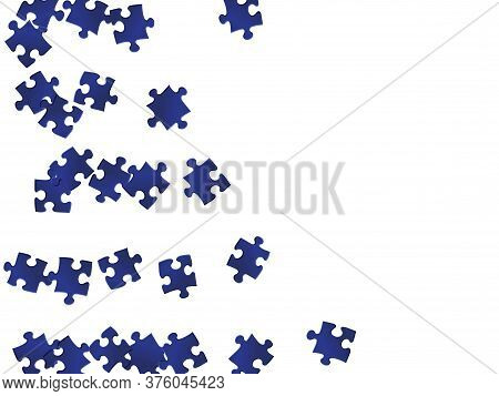 Abstract Mind-breaker Jigsaw Puzzle Dark Blue Pieces Vector Background. Group Of Puzzle Pieces Isola