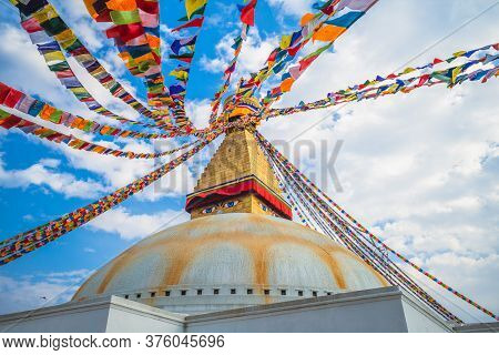 Boudha Stupa (boudhanath) At Kathmandu In Nepal
