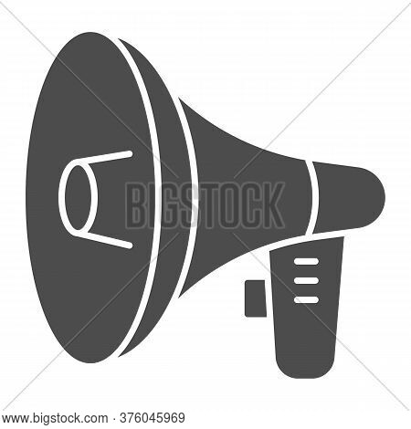 Loudspeaker Solid Icon, Audio Concept, Megaphone Sign On White Background, Loud Speaker Icon In Glyp