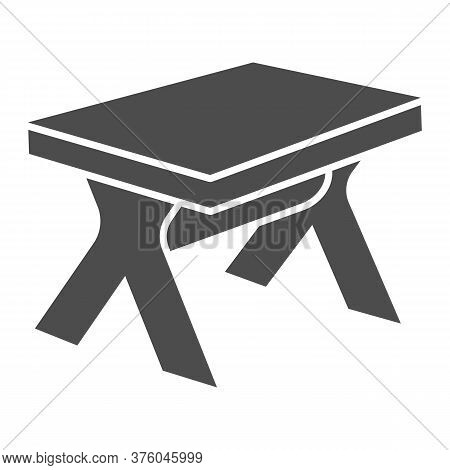 Wooden Table Solid Icon, Furniture Concept, Street Picnic Table Sign On White Background, Outdoor Ca