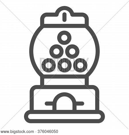 Candy Machine Line Icon, Amusement Park Concept, Gumball Machine Sign On White Background, Chewing G