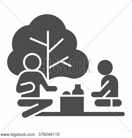 Father And Son On Picnic Solid Icon, Outdoors Concept, Family Picnic Sign On White Background, Two P
