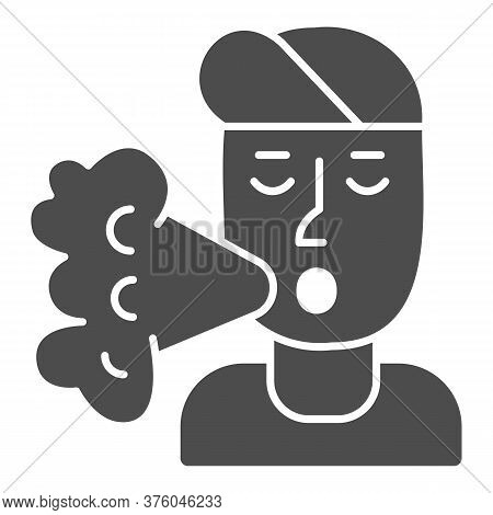 Smoker Solid Icon, Smoking Concept, Smoker Silhouette Sign On White Background, Smoking Man Icon In