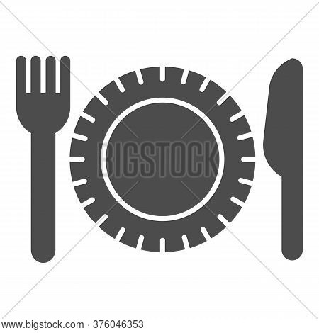 Plastic Disposable Tableware Solid Icon, Picnic Concept, Plate With Fork And Knife Sign On White Bac